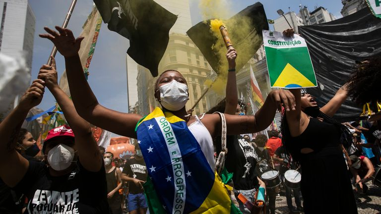 There have been a number of protests calling for the impeachment of Jair Bolsonaro as a result of his handling of the COVID crisis in Brazil. Pic: AP