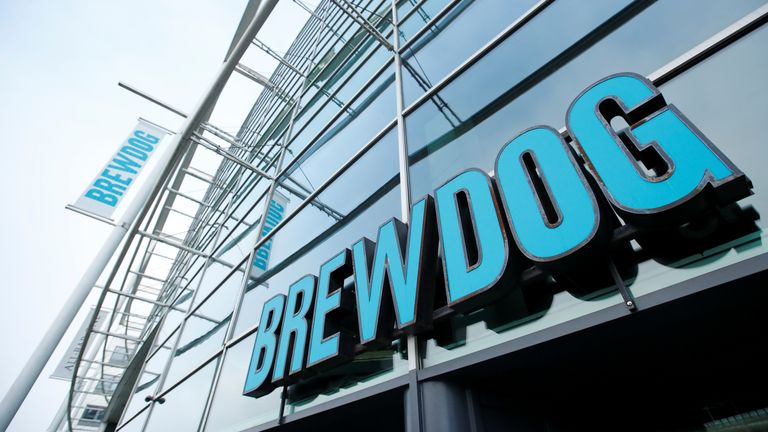 A logo of the closed Brewdog bar is seen on the building amid the outbreak of the coronavirus disease (COVID-19) in Milton Keynes, Britain, January 1, 2021. REUTERS/Andrew Boyers