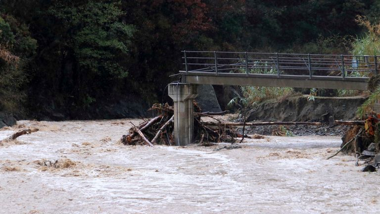 A bridge in Quiliano, near Savona in Northern Italy, collapsed after heavy rains in the region, Monday, Oct. 4, 2021. Heavy rain battered Liguria, the northwest region of Italy bordering France, causing flooding and mudslides on Monday in several places. No casualties were reported. The hardest-hit city was Savona, on the Ligurian Sea coast. But towns in the region's hilly interior also suffered flooding and landslides, as some streams overflowed their banks.  PIC:AP
