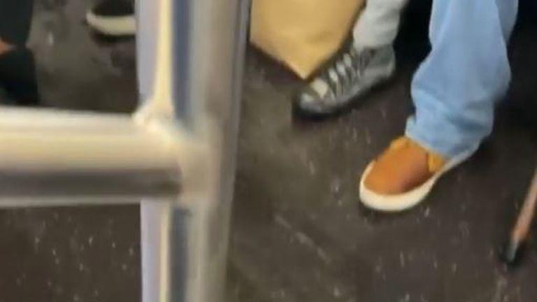 Rain water drips into New York subway train
