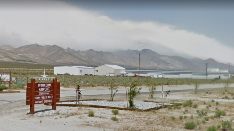 The attack happened at Inyorken airport in California. Pic: Google Maps