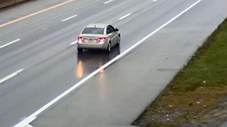 Car is filmed reversing on US highway