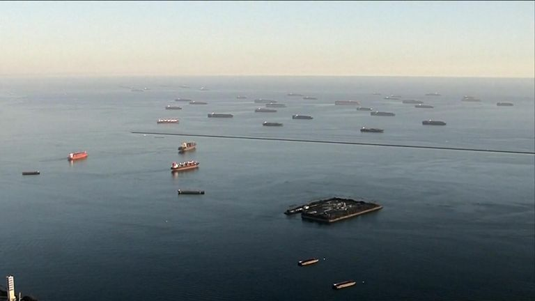 Ships have been forced to queue outside Californian ports due to bottlenecks formed by global supply issues.