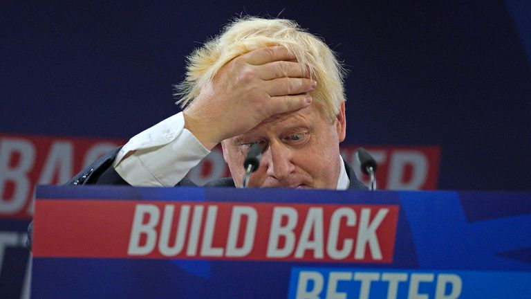 Prime Minister Boris Johnson delivers his keynote speech at the Conservative Party Conference in Manchester. Picture date: Wednesday October 6, 2021.