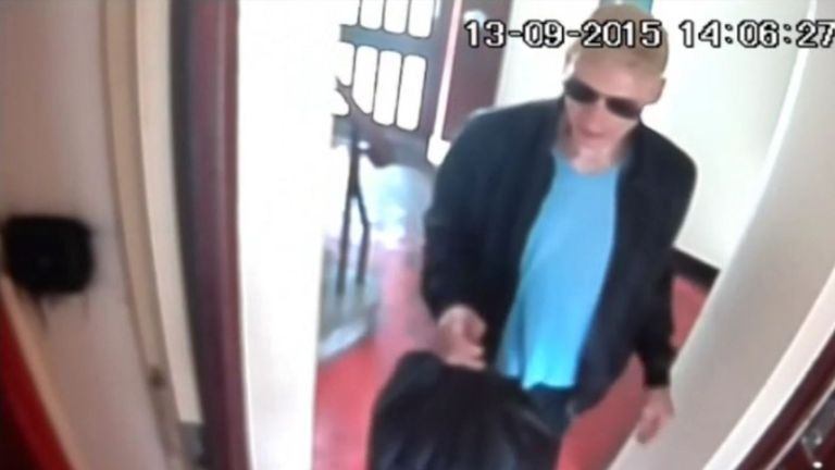 Handout CCTV image dated 13/9/2015 issued by Metropolitan Police of Stephen Port arriving at a flat in Barking to buy drugs carrying a black bag which was shown to a jury at the Old Bailey.