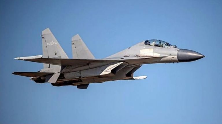 Chinese PLA J-16 fighters have flown multiple sorties into Taiwan airspace in recent days Pic: AP