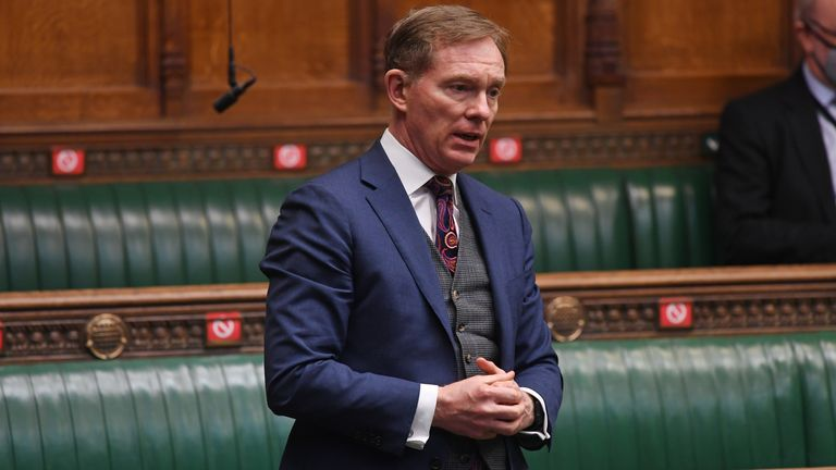 MP Chris Bryant attends a parliament session at the House of Commons in London, Britain March 16, 2021. UK Parliament/Jessica Taylor/Handout via REUTERS ATTENTION EDITORS - THIS IMAGE HAS BEEN SUPPLIED BY A THIRD PARTY. MANDATORY CREDIT. NO ALTERATIONS