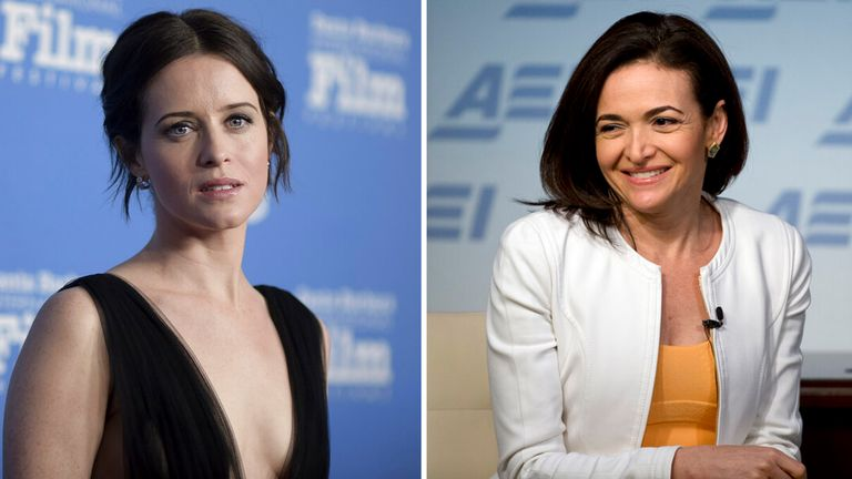 Claire Foy will play Facebook exec Sheryl Sandberg in a drama about the social media giant. Pics: AP
