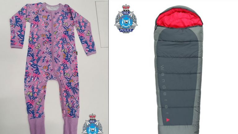 Police released a picture of a pink pyjama suit and a sleeping bag. Pic: Western Australia Police