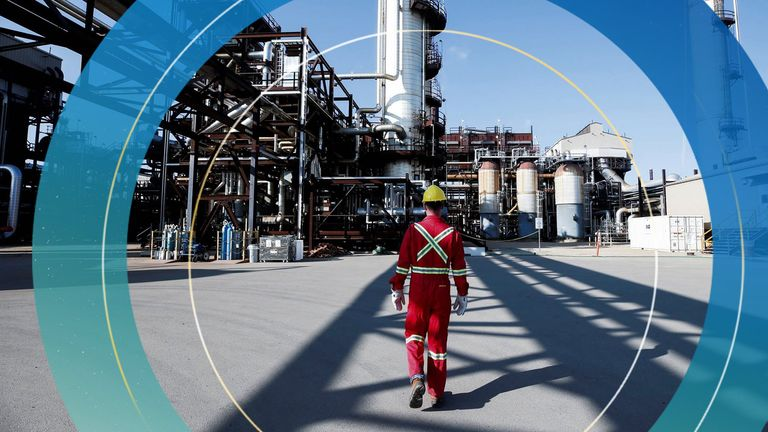 A Shell employee walks through the company's new Quest Carbon Capture and Storage (CCS) facility