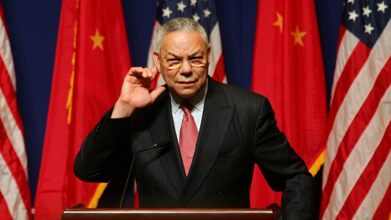 FILE PHOTO: U.S. Secretary of State Colin Powell listens to a question during a news conference in Beijing October 25, 2004.