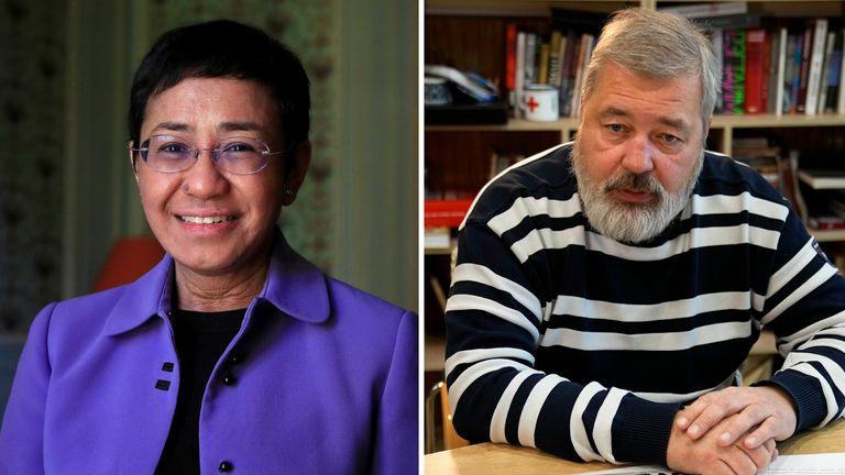 MARIA RESSA AND DMITRY MURATOV WIN 2021 NOBEL PEACE PRIZE comp - AP/REUTERS