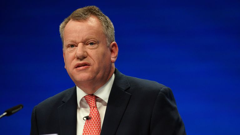 Lord David Frost, Minister of State at the Cabinet Office, speaks during the Conservative Party Conference in Manchester. Picture date: Monday October 4, 2021.