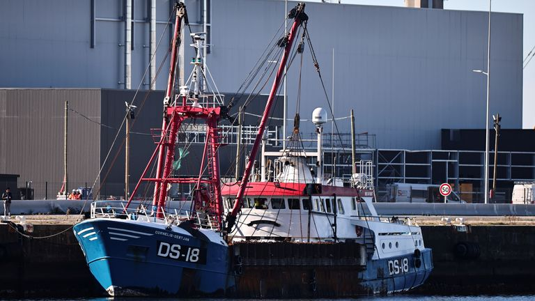 A British trawler Cornelis Gert Jan is seen moored in the port of Le Havre after France seized on Thursday a British trawler fishing in its territorial waters without a licence, in Le Havre, France, October 28, 2021. REUTERS/Sarah Meyssonnier