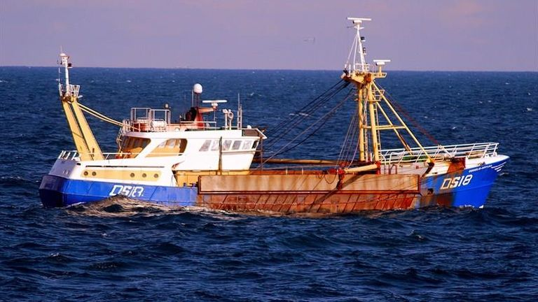 October 27th Macduff's scallop vessel Cornelis was boarded by the French authorities and ordered into the French port of Le Harve while legally fishing for scallop in French waters.    Access to French waters for the UK scallop fleet is provided under Brexit Fisheries Agreement. MUST CREDIT:  Sean Boyce