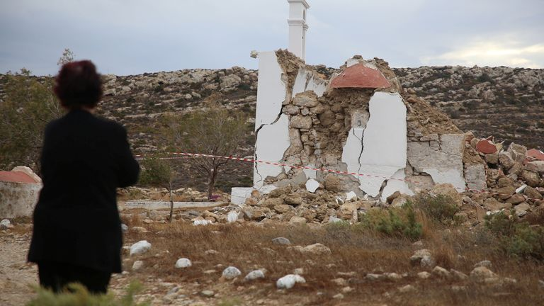 A view of a destroyed chapel following an earthquake in the village of Xerokampos on the island of Crete, Greece, October 12, 2021. REUTERS/Stringer