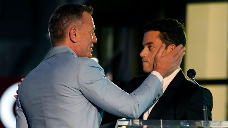 Daniel Craig was joined at the ceremony by co-star Rami Malek, who played the main villain in No Time To Die. Pic AP