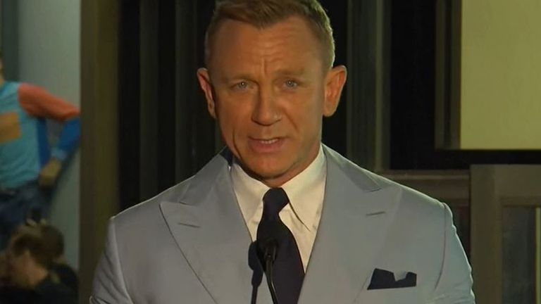 Daniel Craig speaks at ceremony for his Hollywood star unveiling