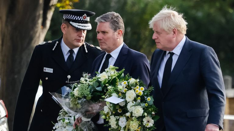 (L-R) Chief Constable Ben-Julian Harrington, Labour Party leader Sir Keir Starmer and Prime Minister Boris Johnson at the scene