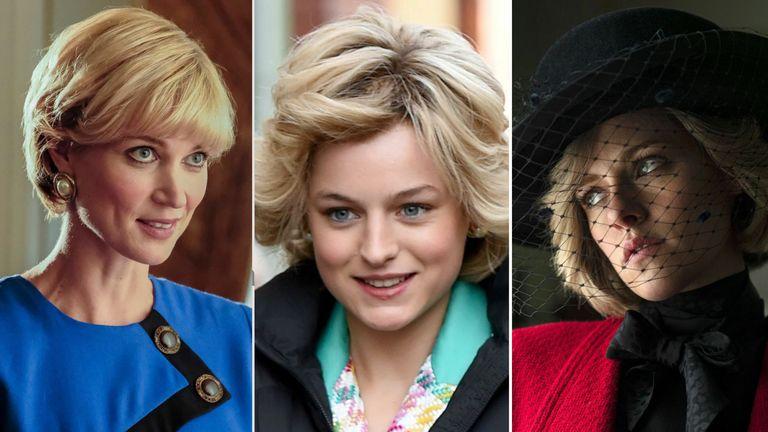 Lt - Rt  Bonnie Soper, Emma Corrin and Kristen Stewart have all portrayed Diana