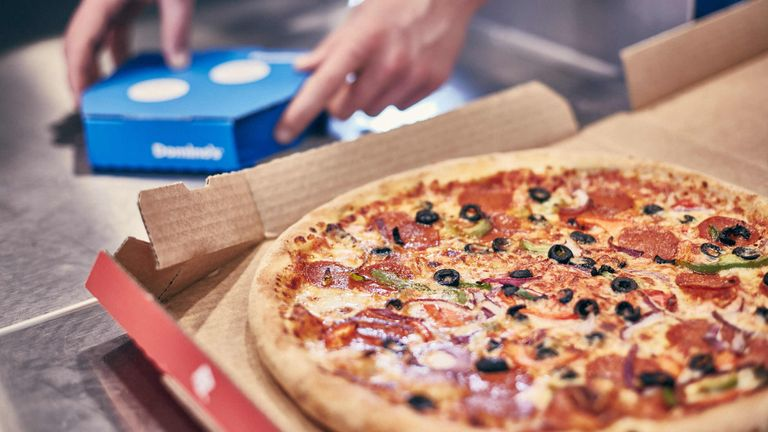 EDITORIAL USE ONLY Domino's branding. PRESS ASSOCIATION Photo. Photo credit should read: John Godwin/PA Wire