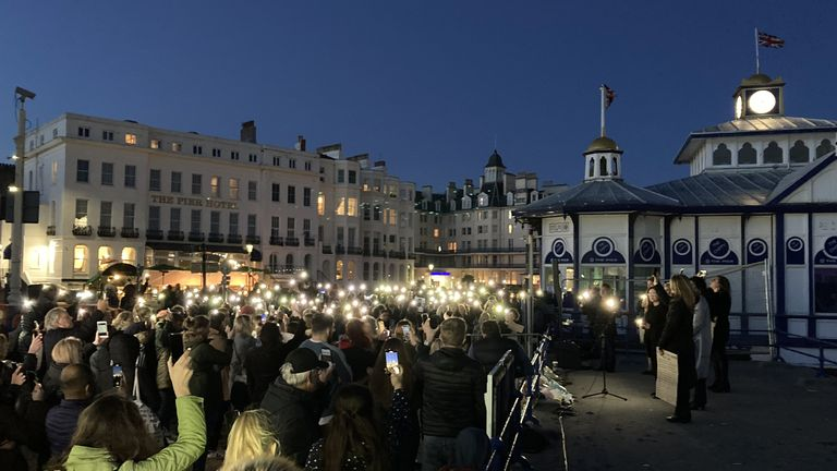 The vigil was held on Eastbourne Pier
