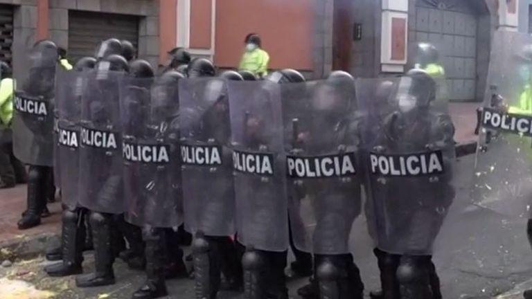 Riot police block road in Ecuador