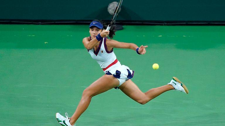 Emma Raducanu pictured at the BNP Paribas Open tennis tournament in Indian Wells, California. Pic: AP