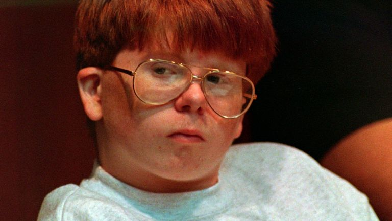 Aug. 11, 1994: Eric Smith is shown in Steuben County Court in Bath, N.Y., during his murder trial. Smith, who was 13 when he killed Derrick Robie, 4. Pic: AP
