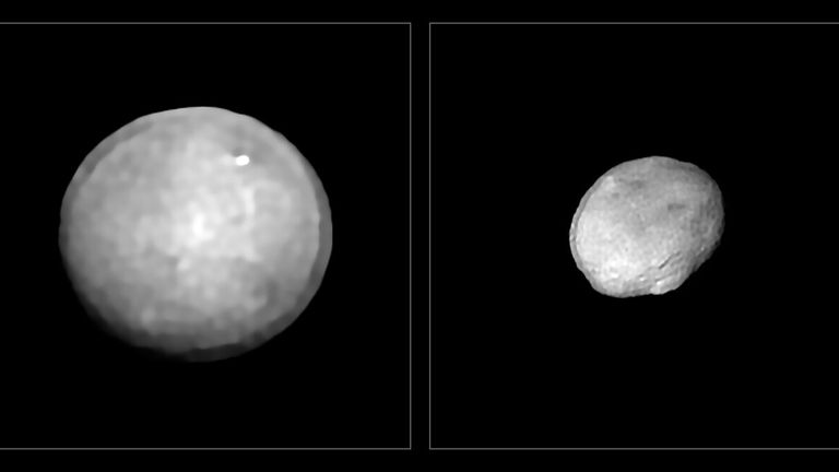 These images have been captured with the Spectro-Polarimetric High-contrast Exoplanet REsearch (SPHERE) instrument on ESO...s Very Large Telescope as part of a programme that surveyed 42 of the largest asteroids in our Solar System. They show Ceres and Vesta, the two largest objects in the asteroid belt between Mars and Jupiter, approximately 940 and 520 kilometres in diameter. These two asteroids are also the two most massive in the sample.