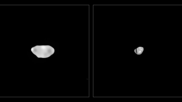 These images have been captured with the Spectro-Polarimetric High-contrast Exoplanet REsearch (SPHERE) instrument on ESO...s Very Large Telescope as part of a programme that surveyed 42 of the largest asteroids in our Solar System. They show two of the least dense asteroids imaged, Sylvia and Lamberta, which have a density of about 1.3 grammes per cubic centimetre, approximately the density of coal.