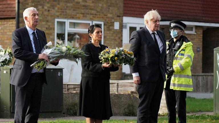 Sir Lindsay Hoyle (L) paid his respects to Sir David with Home Secretary Priti Patel and Boris Johnson