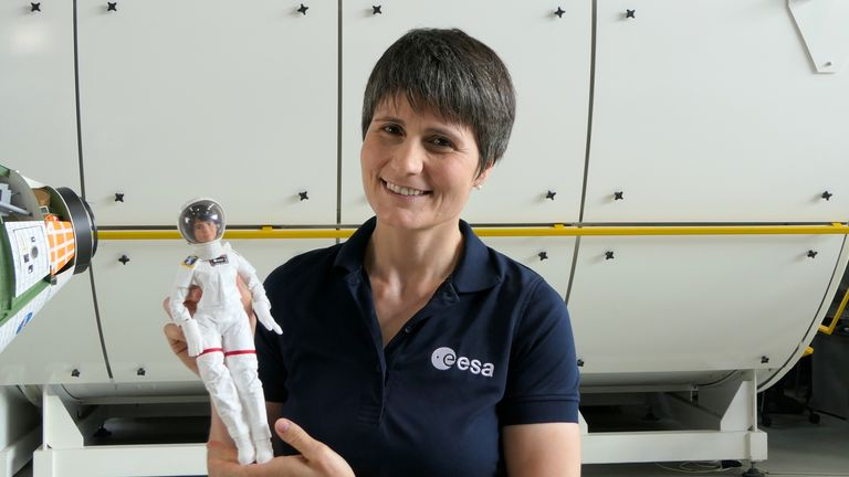 Undated handout photo issued by European Space Authority (ESA) of astronaut Samantha Cristoferetti holding her Barbie doll. The Barbie brand has teamed up with the ESA and its only active female astronaut to inspire young girls to see the science, technology, engineering, and mathematics (Stem) field as a viable career option. Issue date: Monday October 4, 2021.