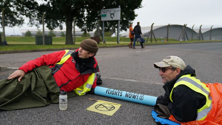 Protestors have gathered outside Farnborough Airport in Hamshire