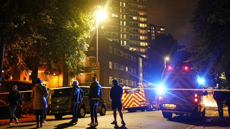 The scene of a fire at a tower block on Westbridge Road in Battersea, south-west London