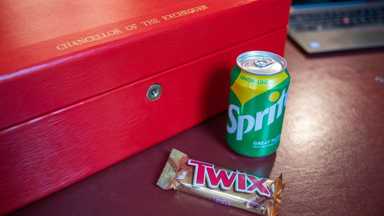 A can of Sprite and Twix on the Chancellor's desk A can of Sprite and Twix on the Chancellor Rishi Sunak's desk ready before he delivers the Budget Taken on October 26, 2021 Pic:HM Treasury