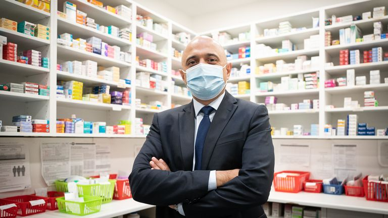 Health Secretary Sajid Javid receives his flu vaccine at a pharmacy in Westminster, London. Picture date: Tuesday October 12, 2021.