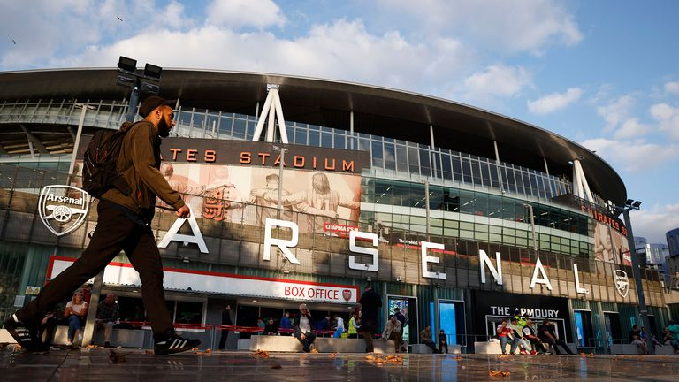 Soccer Football - Carabao Cup - Third Round - Arsenal v AFC Wimbledon - Emirates Stadium, London, Britain - September 22, 2021 General view outside the stadium before the match Action Images via Reuters/John Sibley EDITORIAL USE ONLy