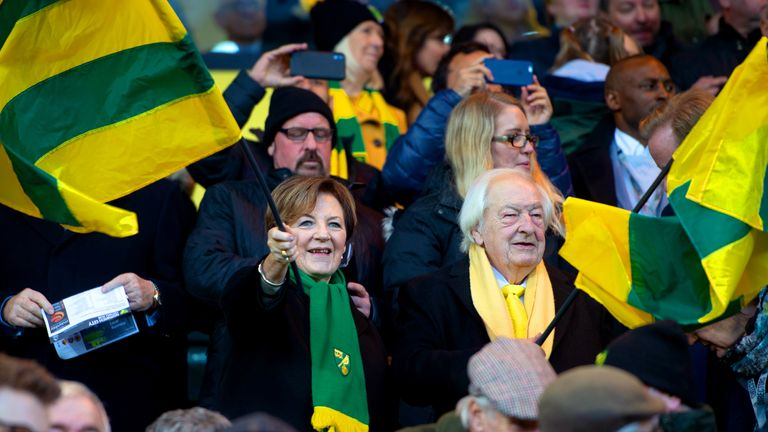 Norwich City shareholders Delia Smith and Michael Wynn-Jones in the stands during the Premier League match at Carrow Road, 2019
