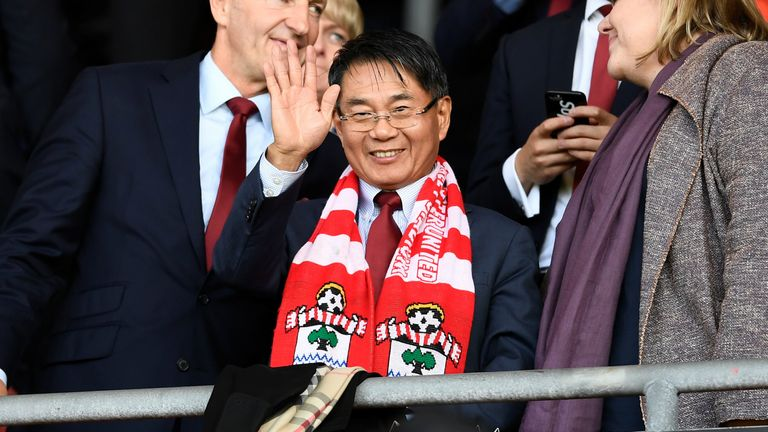 Soccer Football - Premier League - Southampton vs Manchester United - St Mary's Stadium, Southampton, Britain - September 23, 2017 Southampton's new owner Jisheng Gao in the stands before the match REUTERS/Dylan Martinez