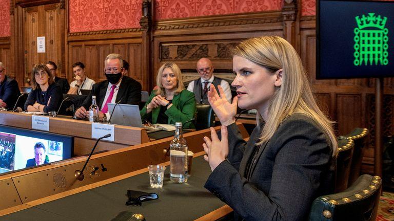 Frances Haugen, Facebook whistleblower, gives evidence to MPs