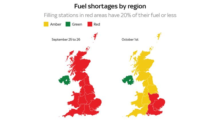 Fuel shortages have improved for most areas but are still not back to normal