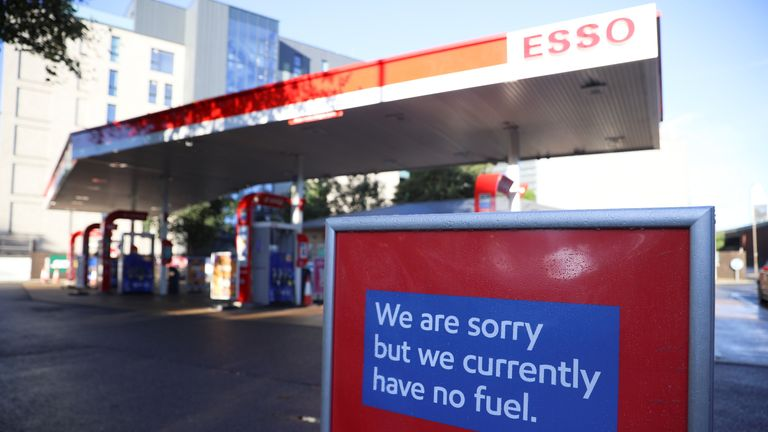 An Esso petrol station that has run out of fuel is pictured in London, Britain, October 4, 2021. REUTERS/Hannah McKay