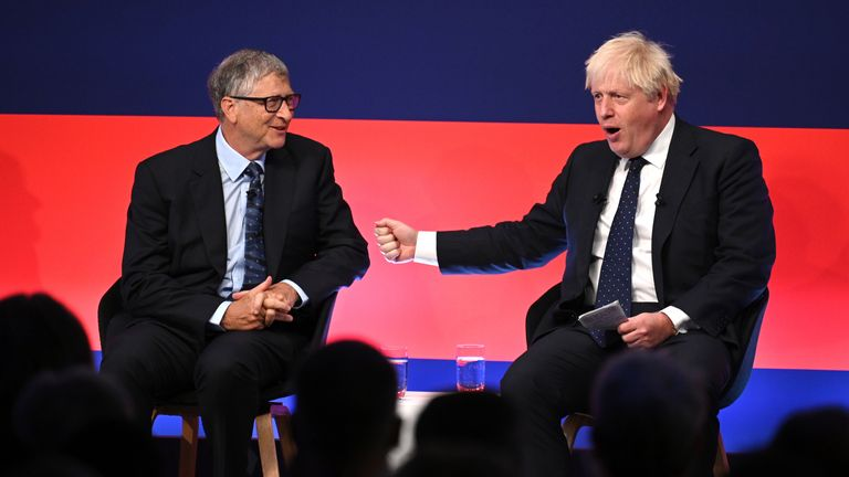 Prime Minister Boris Johnson (right) appears on stage in conversation with American Businessman Bill Gates during the Global Investment Summit at the Science Museum, London. Picture date: Tuesday October 19, 2021.