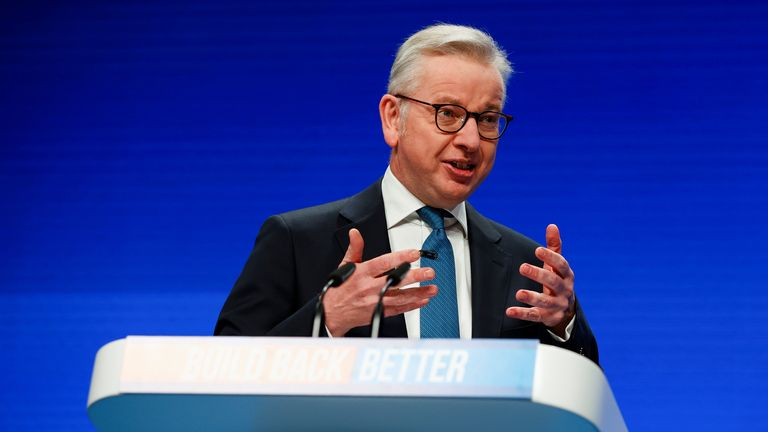 Britain's Housing Secretary Michael Gove delivers a speech during the annual Conservative Party conference, in Manchester, Britain, October 4, 2021. REUTERS/Phil Noble