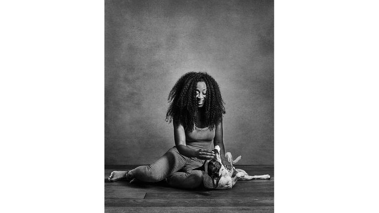 ONE USE ONLY Beverley Knight with rescue dog Zain from Spain Celebrity portrait photographer Andy Gotts has created a series of stunning images of the UK's most famous faces - and their dogs. Must Credit: Andy Gotts / Guide Dogs