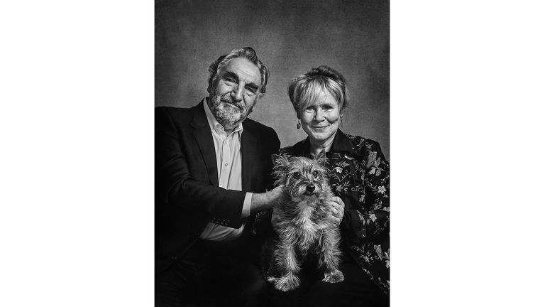 ONE USE ONLY Jim Carter and Imelda Staunton with Molly - a rescue dog, Cairn Terrier cross Celebrity portrait photographer Andy Gotts has created a series of stunning images of the UK's most famous faces - and their dogs. Must Credit: Andy Gotts / Guide Dogs