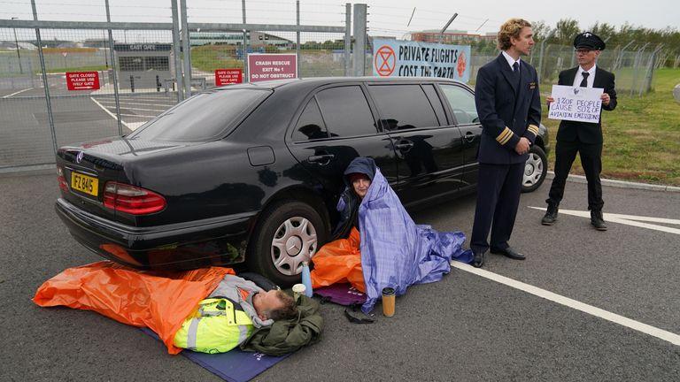 Extinction Rebellion are outside Farnborough Airport in Hamshire