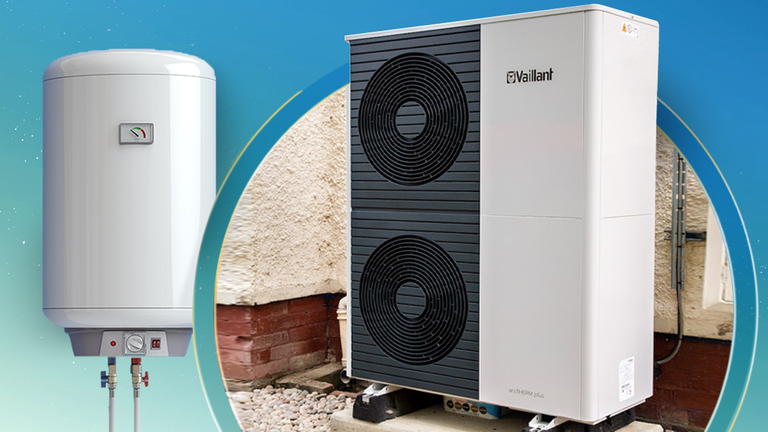 The government wants all gas boilers to be replaced with low carbon heat pumps (R) by 2030