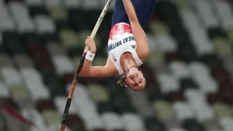 Olympian Holly Bradshaw performing the pole vault at the 2020 Tokyo Olympics